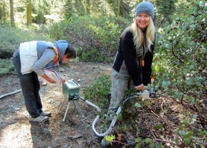 Geography post doc Sara Baguskas and Ecohydrology Lab manager Janet Choate measure gas exchange from a manzanita